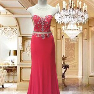 LONG DRESS EMBELLISHED STONES PARTY COKTAIL PROM S